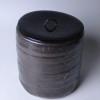 楽常慶 黒釉筒形水指