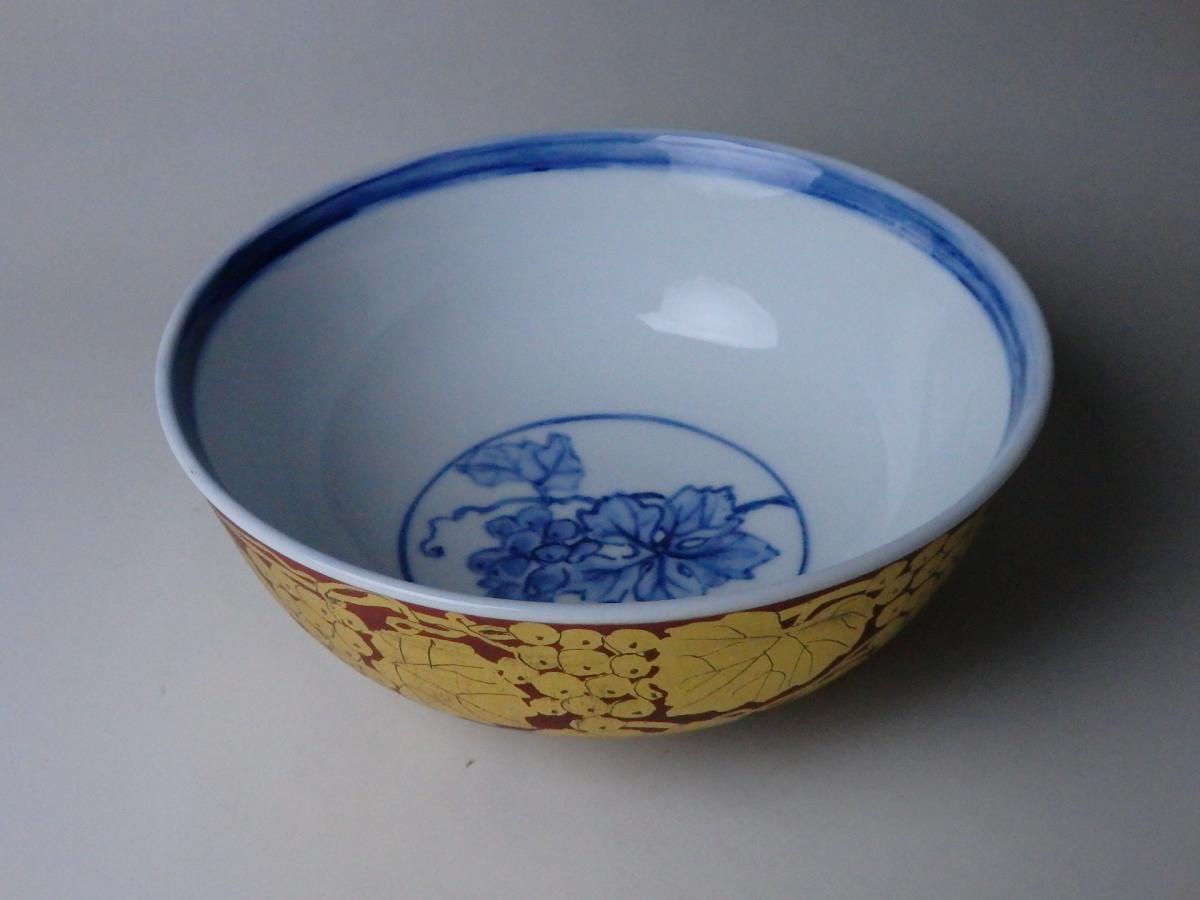 小野伯子赤地金襴手葡萄紋菓子鉢 (4)