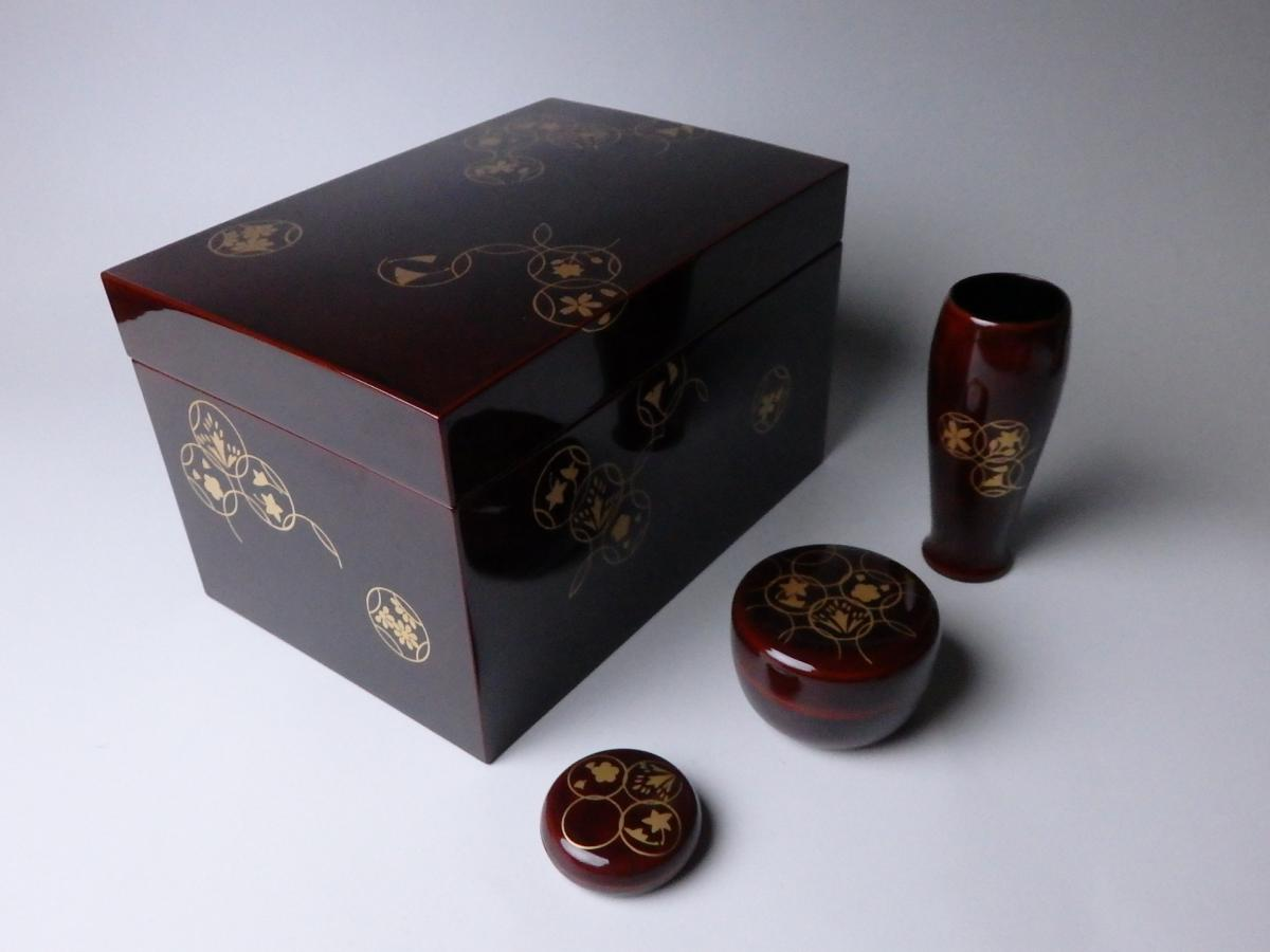 岡本陽斎七宝蒔絵溜塗利休茶箱 (1)