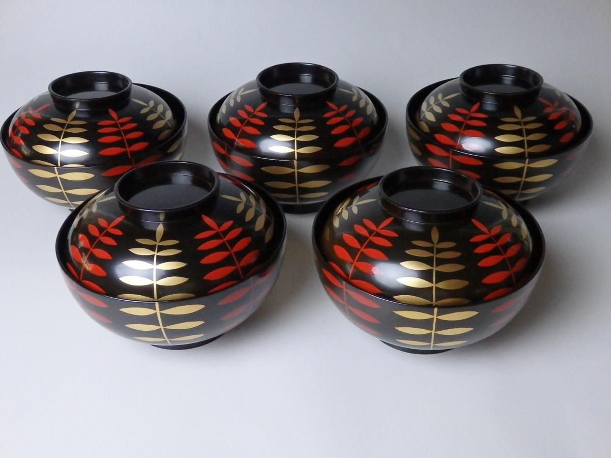 岡本陽斎木の葉蒔絵煮物碗 (1)