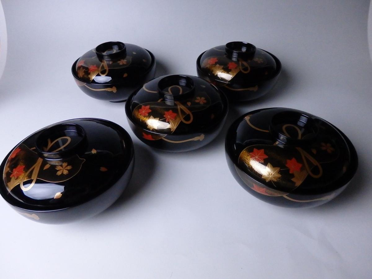 輪島塗瓢蒔絵煮物椀 (1)