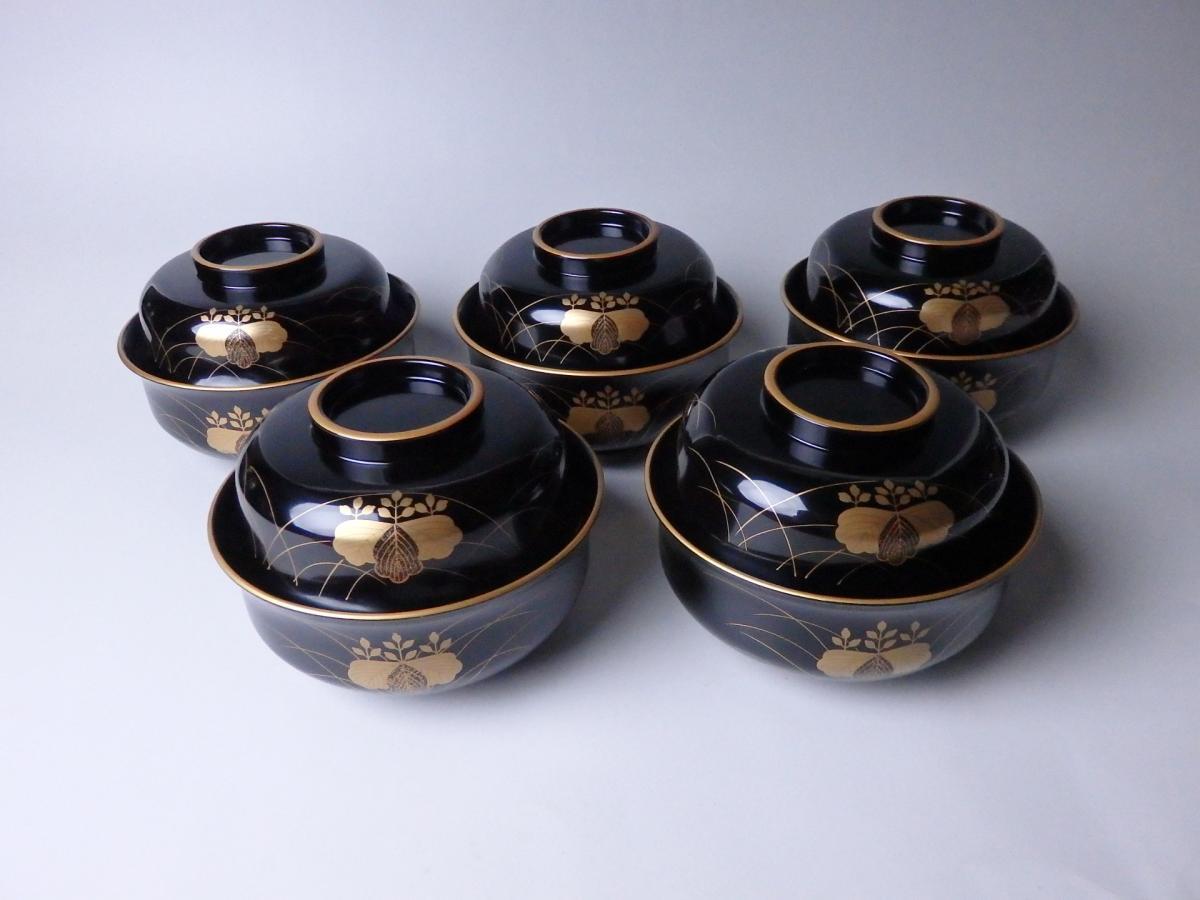 道場宗廣芒桐蒔絵煮物碗 (1)