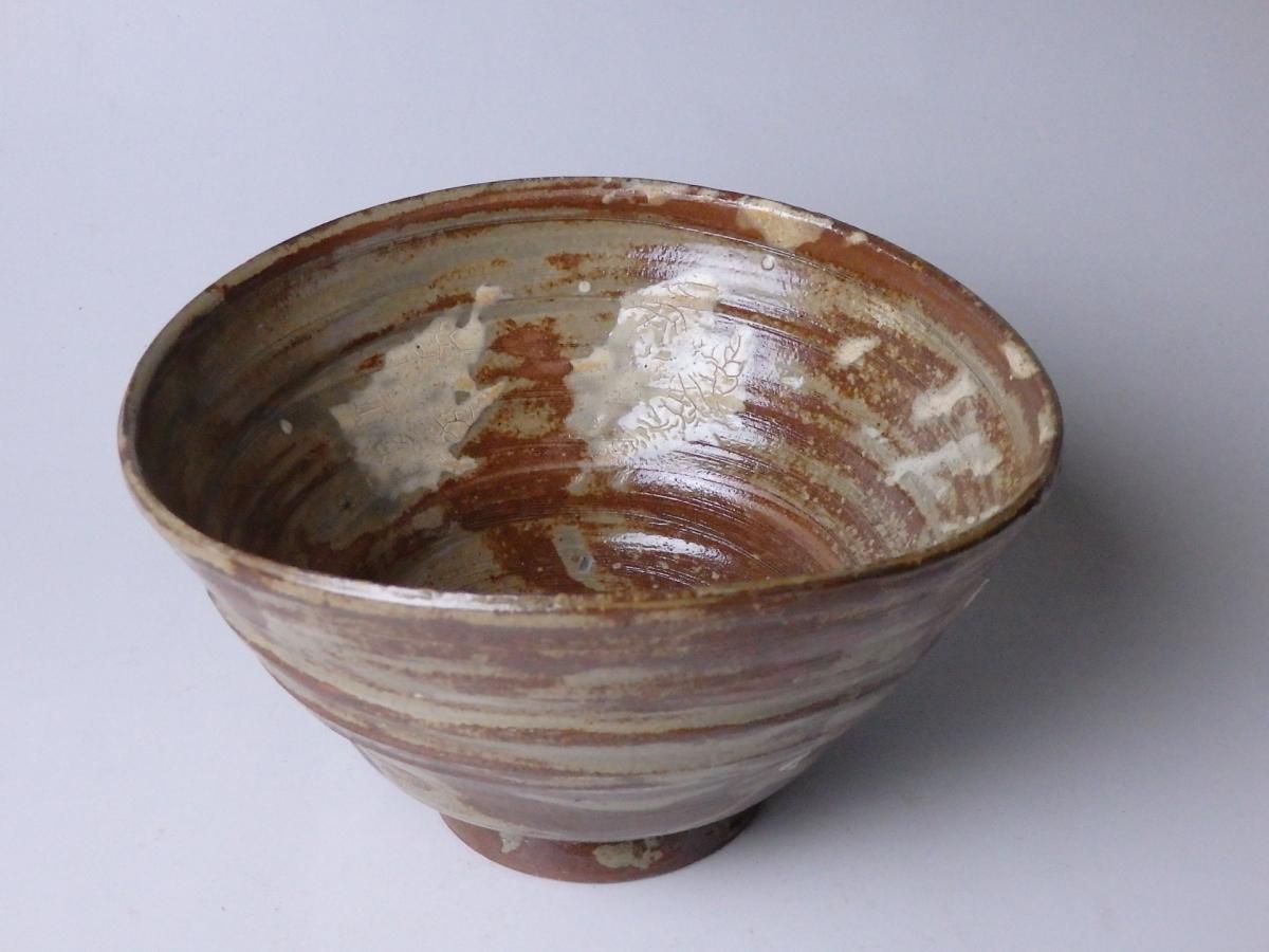 長岡空権楽山焼刷毛目茶碗 (1)