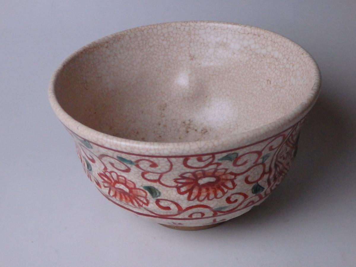 青木木米赤絵呉須茶碗 (1)